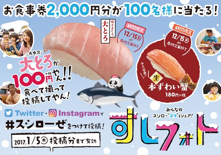 すしフォト お食事券2000円分が100名様にあたる!