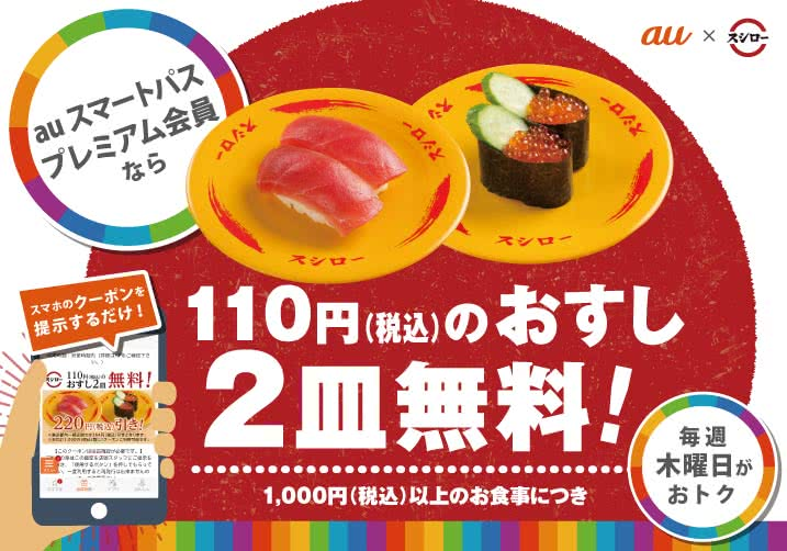 auスマートパスプレミアム 「220円割引クーポン」配布(10/3~毎週木曜日)